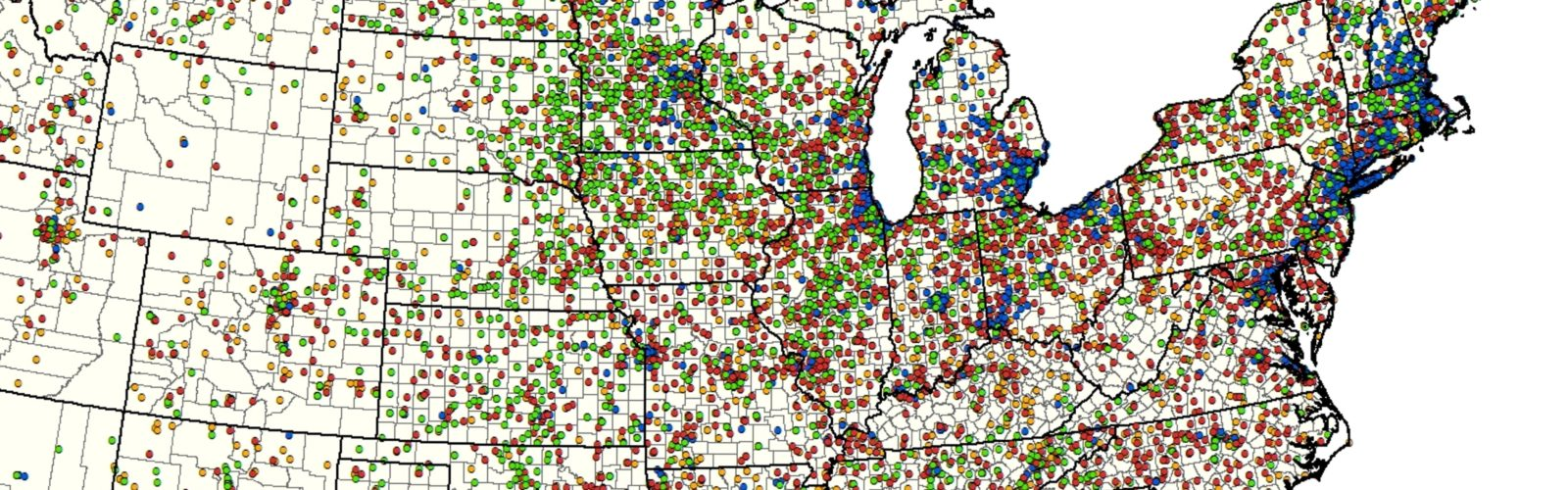 map of co-ops in the upper midwest and northeast central U.S.